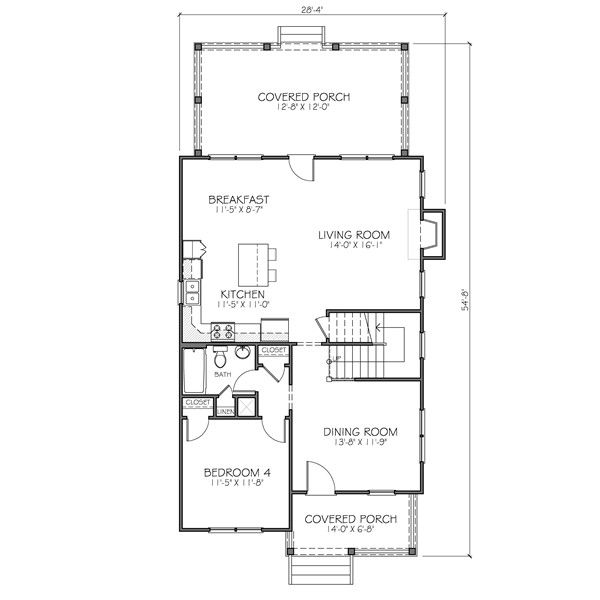 Traditional Floor Plan - Main Floor Plan Plan #483-1