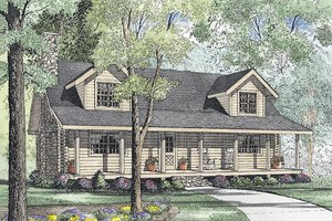 Log Exterior - Front Elevation Plan #17-494