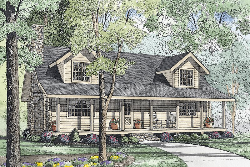 Log Style House Plan - 3 Beds 2.5 Baths 1810 Sq/Ft Plan #17-494 Exterior - Front Elevation