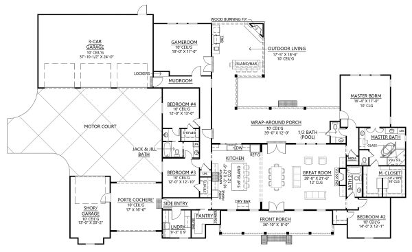 Farmhouse Floor Plan - Main Floor Plan Plan #1074-3