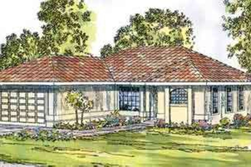 Mediterranean Style House Plan - 3 Beds 2 Baths 1352 Sq/Ft Plan #124-433 Exterior - Front Elevation