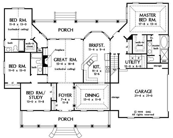 House Design - Country Floor Plan - Main Floor Plan #929-20