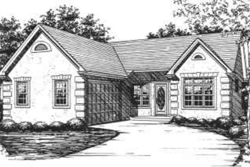 Ranch Style House Plan - 3 Beds 2 Baths 1488 Sq/Ft Plan #30-138 Exterior - Front Elevation