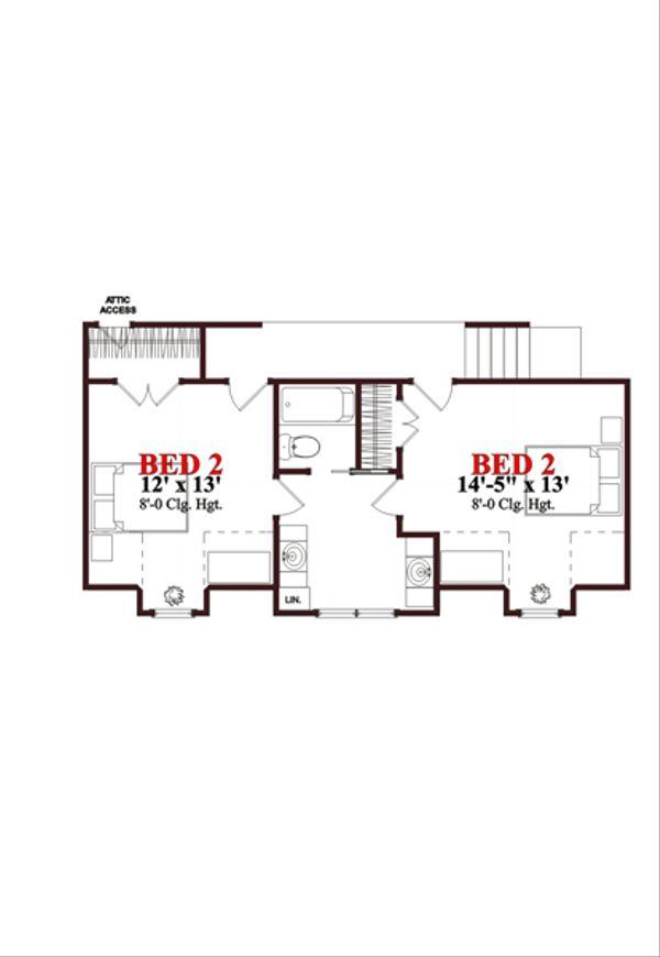 Traditional Floor Plan - Upper Floor Plan Plan #63-274
