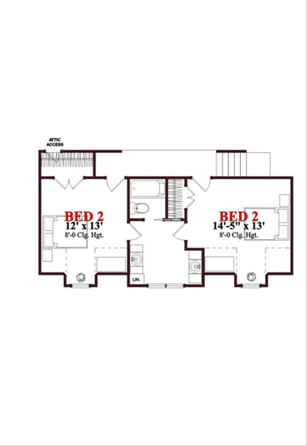 Traditional Floor Plan - Upper Floor Plan Plan #63-274