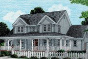 Country Style House Plan - 4 Beds 3 Baths 1980 Sq/Ft Plan #20-2036 Exterior - Front Elevation