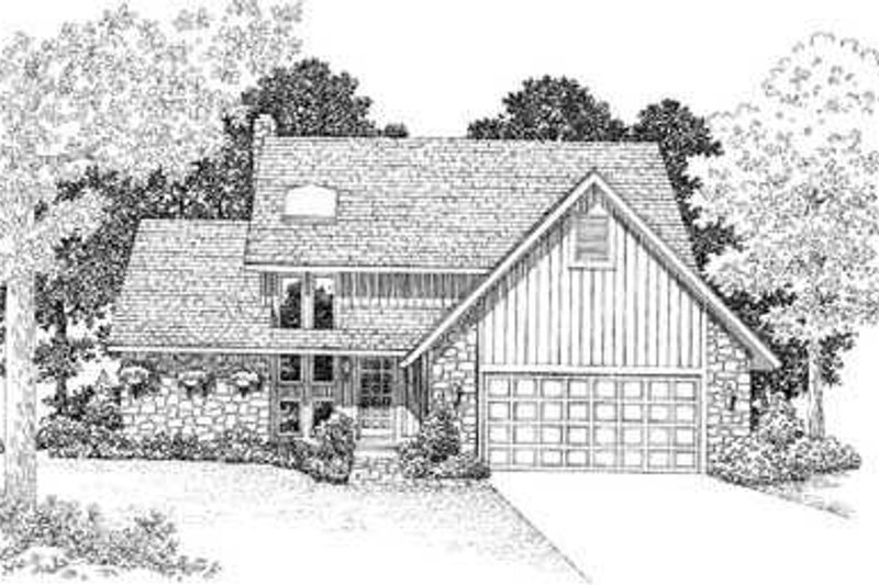 Modern Style House Plan - 3 Beds 2.5 Baths 1961 Sq/Ft Plan #72-123 Exterior - Front Elevation
