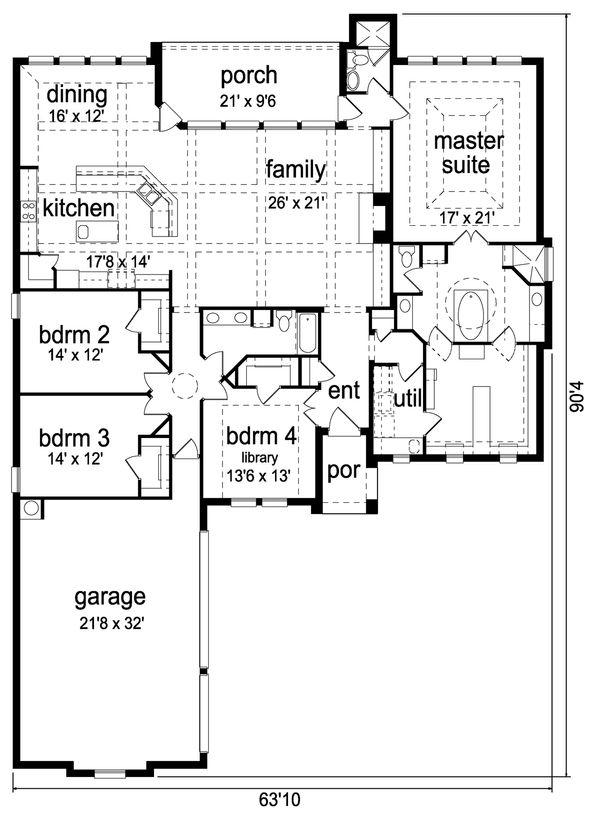 European Floor Plan - Main Floor Plan Plan #84-635