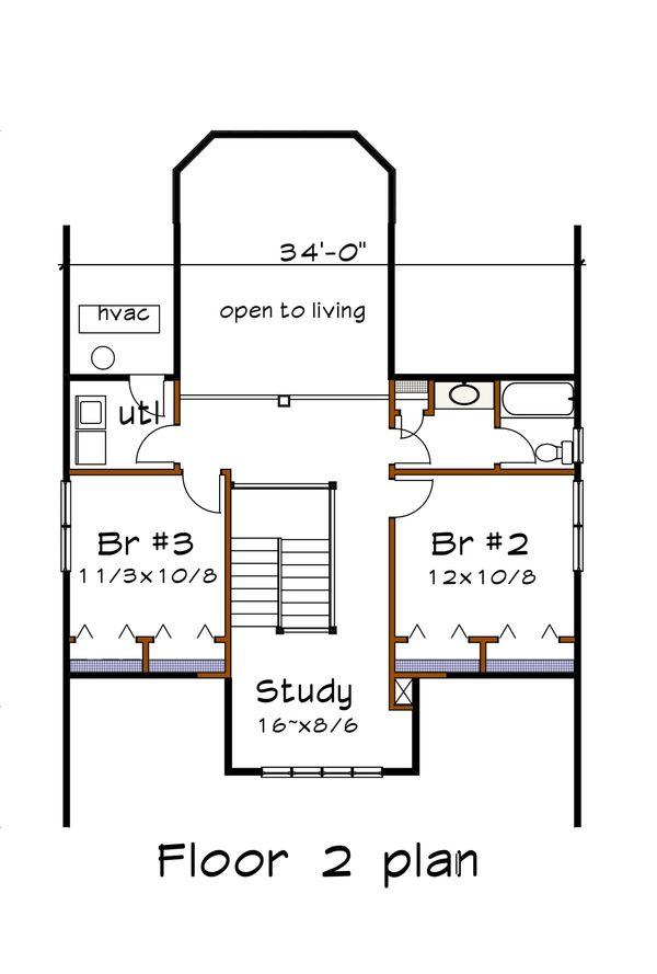 Craftsman Floor Plan - Upper Floor Plan Plan #79-280