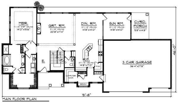 Craftsman Floor Plan - Main Floor Plan Plan #70-1286
