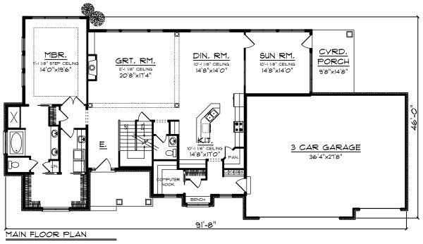 Craftsman Floor Plan - Main Floor Plan #70-1286