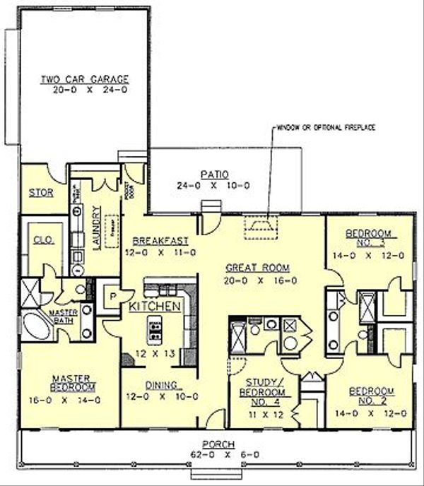 Home Plan - Southern Floor Plan - Main Floor Plan #44-107