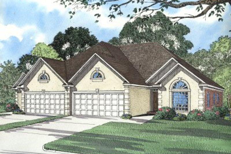 Architectural House Design - Mediterranean Exterior - Front Elevation Plan #17-1073