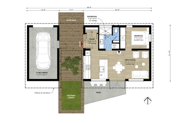Modern Floor Plan - Main Floor Plan Plan #933-12