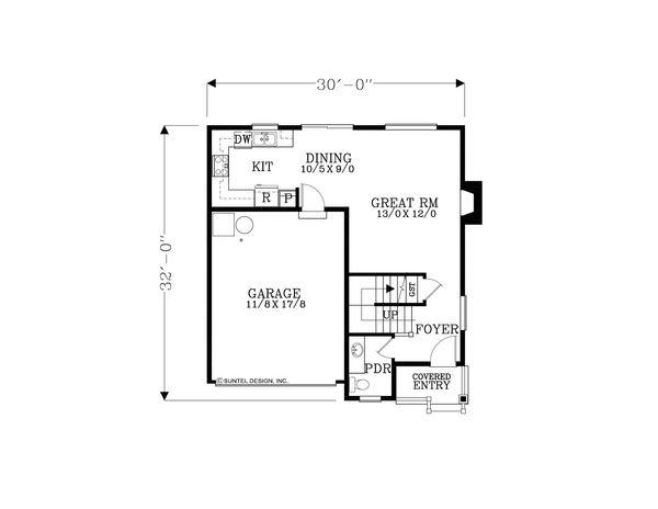 Craftsman Floor Plan - Main Floor Plan Plan #53-589
