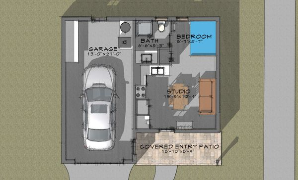 Bungalow Floor Plan - Main Floor Plan Plan #910-4