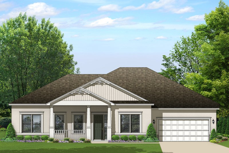 Ranch Exterior - Front Elevation Plan #1058-163