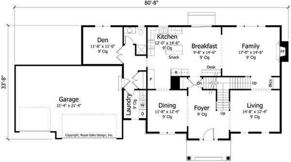 Craftsman Floor Plan - Main Floor Plan Plan #51-412