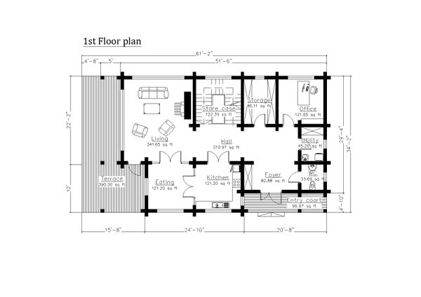 Log Floor Plan - Main Floor Plan Plan #549-6