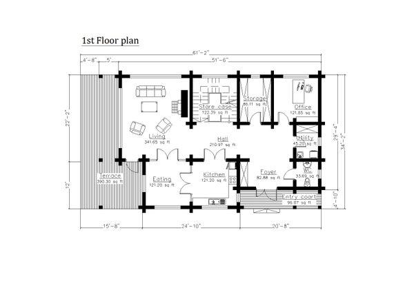 Log Floor Plan - Main Floor Plan #549-6