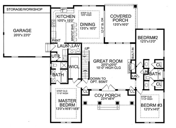 Craftsman Floor Plan - Main Floor Plan Plan #456-36
