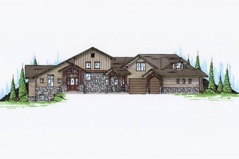 Craftsman Exterior - Front Elevation Plan #5-463