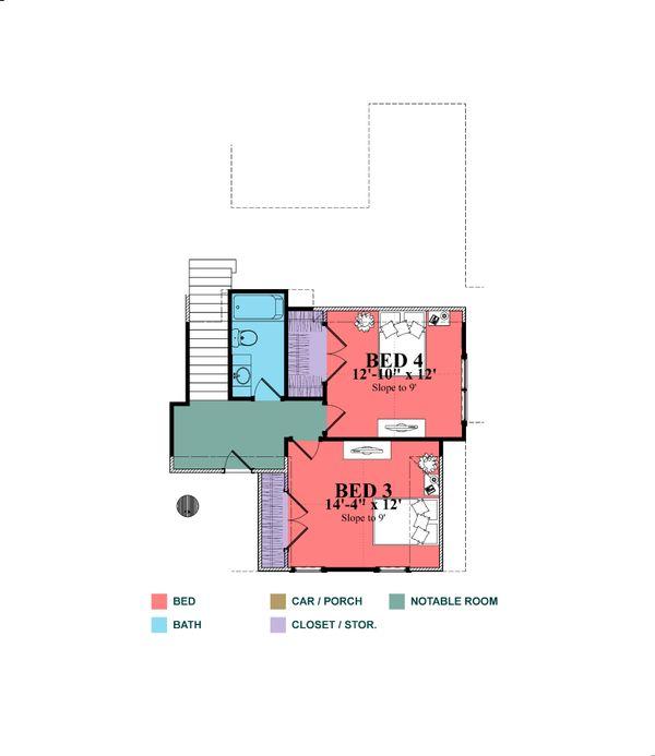 Craftsman Floor Plan - Upper Floor Plan Plan #63-429