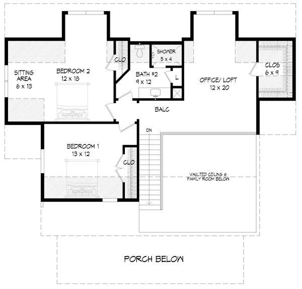 Farmhouse Floor Plan - Upper Floor Plan #932-345