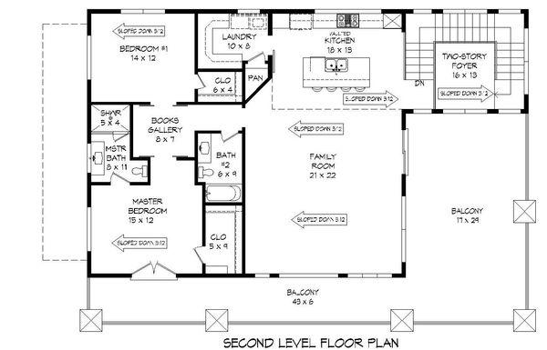 Contemporary Floor Plan - Upper Floor Plan Plan #932-217