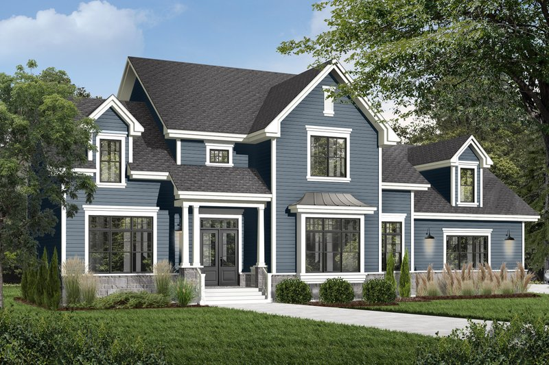 Craftsman Style House Plan - 4 Beds 4.5 Baths 4177 Sq/Ft Plan #23-832 Exterior - Front Elevation