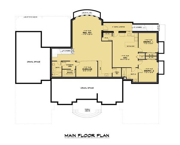 House Plan Design - Mediterranean Floor Plan - Lower Floor Plan #1066-124