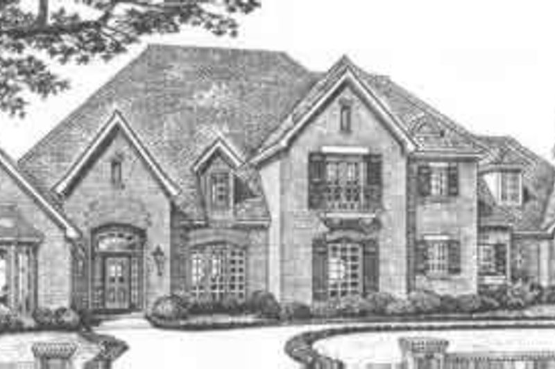European Style House Plan - 4 Beds 4.5 Baths 4518 Sq/Ft Plan #310-517 Exterior - Front Elevation