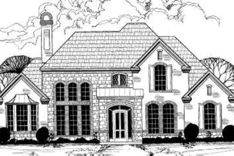 European Style House Plan - 5 Beds 4.5 Baths 4289 Sq/Ft Plan #317-135 Exterior - Front Elevation