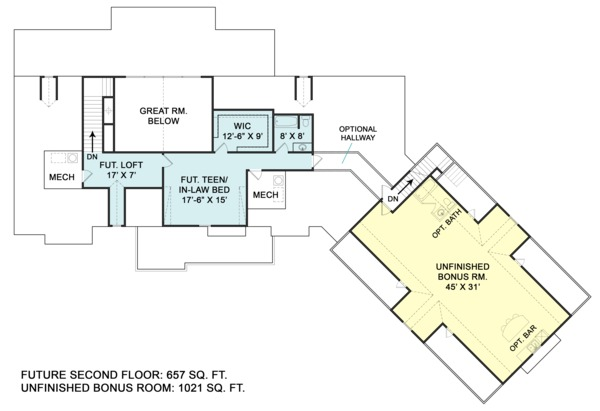 Home Plan - Optional Upper Level & Bonus