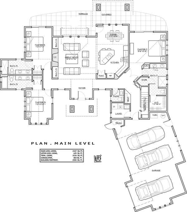 Craftsman Floor Plan - Main Floor Plan Plan #892-11