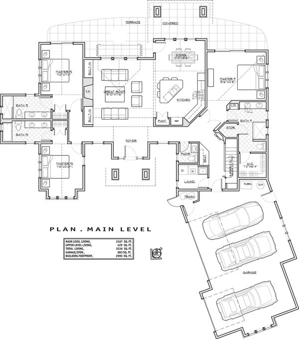 Craftsman Floor Plan - Main Floor Plan Plan #892-11