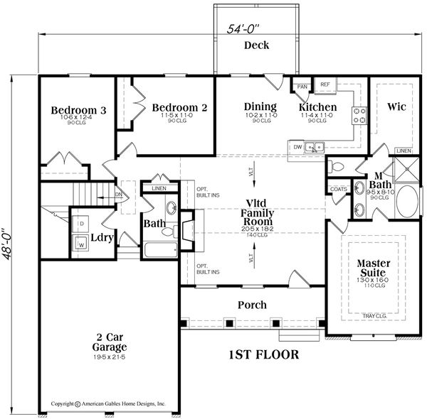 Craftsman Floor Plan - Main Floor Plan #419-104
