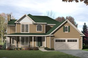 Country Exterior - Front Elevation Plan #22-520