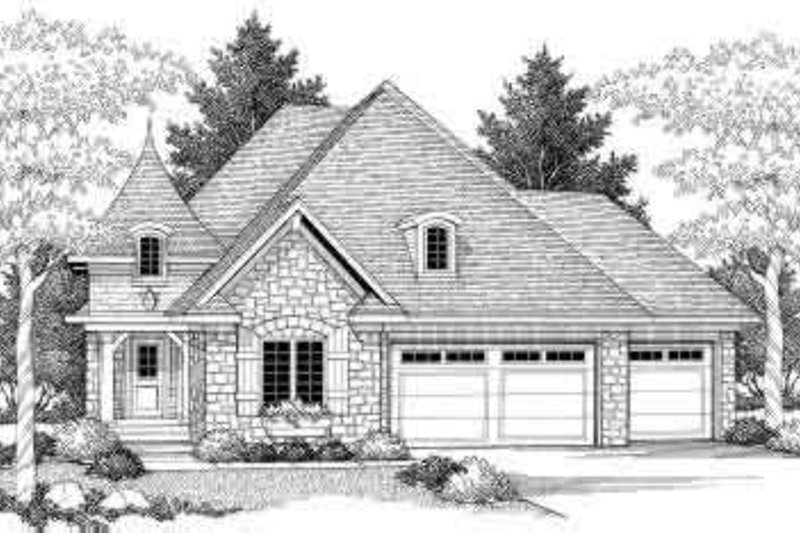 European Style House Plan - 4 Beds 3 Baths 2897 Sq/Ft Plan #70-710 Exterior - Front Elevation