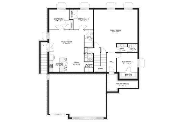 House Design - Ranch Floor Plan - Lower Floor Plan #1060-101