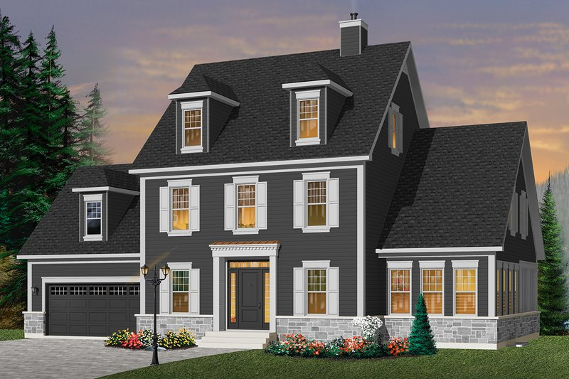 Colonial Style House Plan - 3 Beds 2.5 Baths 2136 Sq/Ft Plan #23-2260 Exterior - Front Elevation