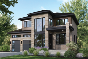 Home Plan - Contemporary Exterior - Front Elevation Plan #25-4892
