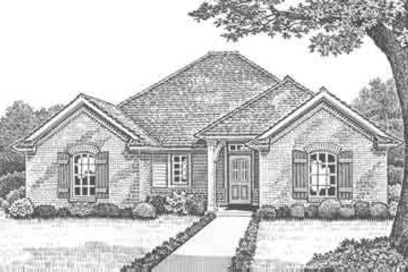 Traditional Style House Plan - 3 Beds 2 Baths 1658 Sq/Ft Plan #310-293 Exterior - Front Elevation