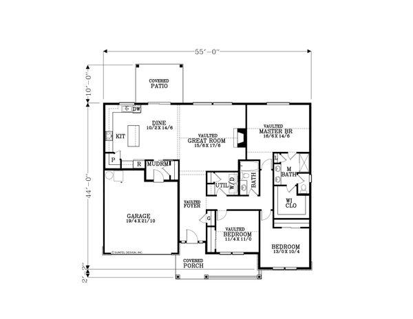 Craftsman Floor Plan - Main Floor Plan Plan #53-566