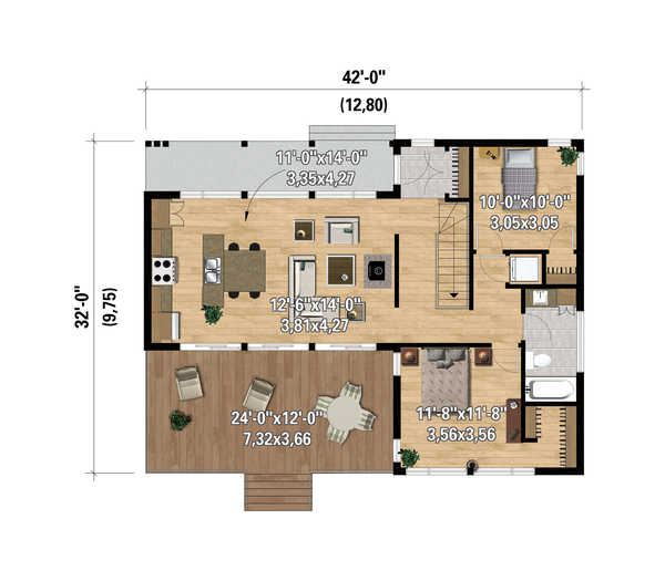 Dream House Plan - Cottage Floor Plan - Main Floor Plan #25-4928