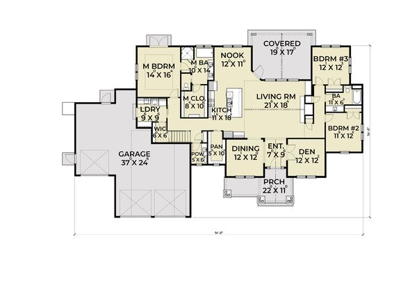 Craftsman Floor Plan - Main Floor Plan Plan #1070-65