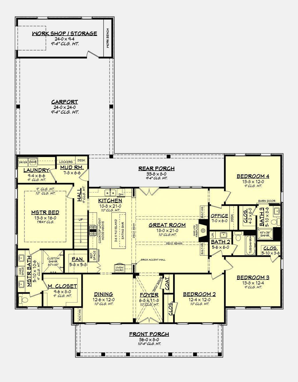 Farmhouse Style House Plan 4 Beds 3