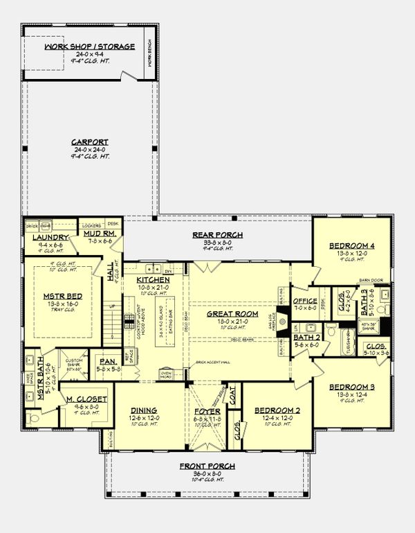 Farmhouse Floor Plan - Main Floor Plan Plan #430-215