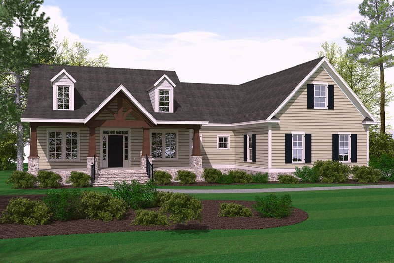 Craftsman Style House Plan - 3 Beds 2.5 Baths 2182 Sq/Ft Plan #1071-1 Exterior - Front Elevation