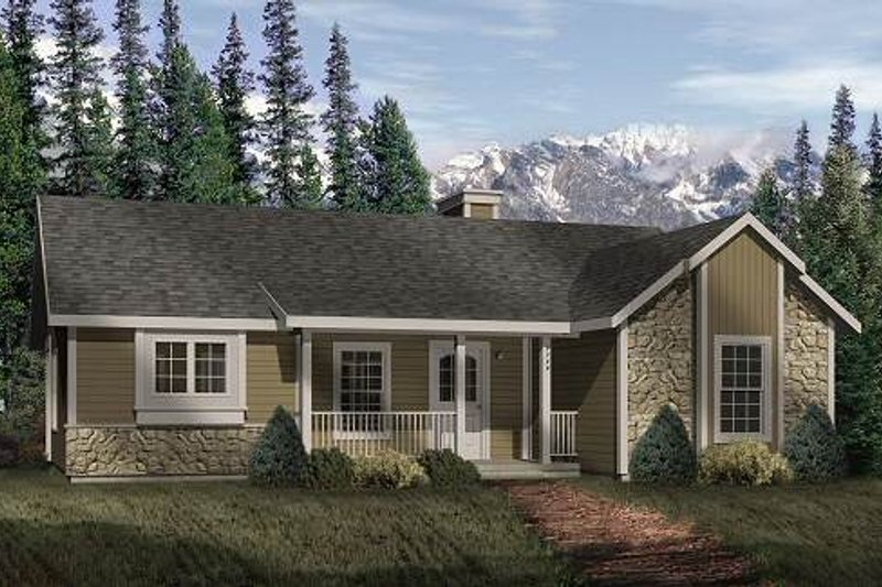 Cottage Style House Plan - 2 Beds 1 Baths 1073 Sq/Ft Plan #22-120 Exterior - Front Elevation